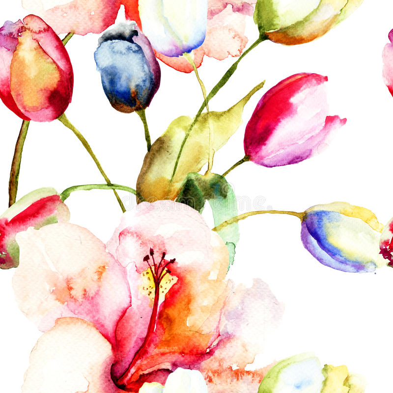 Aquarellmalerei von Tulpen- und Lilienblumen lizenzfreie abbildung