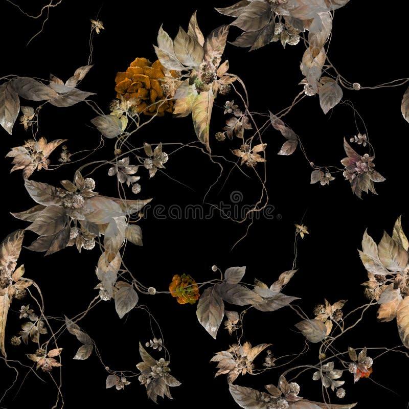 Aquarellmalereiblatt und Blumen, nahtloses Muster auf dunklem Hintergrund vektor abbildung