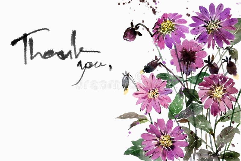 Aquarellmalereiblumensträuße Blumen-Dahlienpurpur vektor abbildung