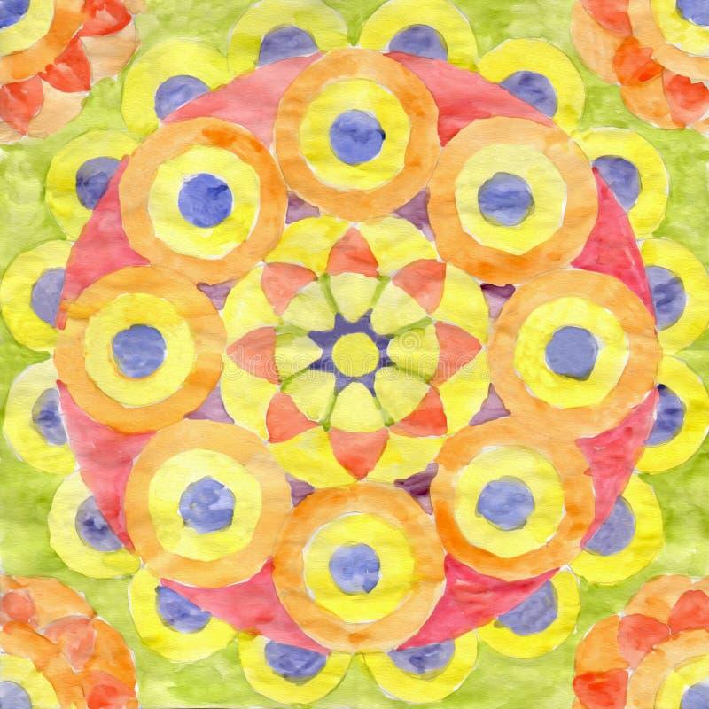 Aquarellmandala von Gelbem, von Rotem und von Orange vektor abbildung