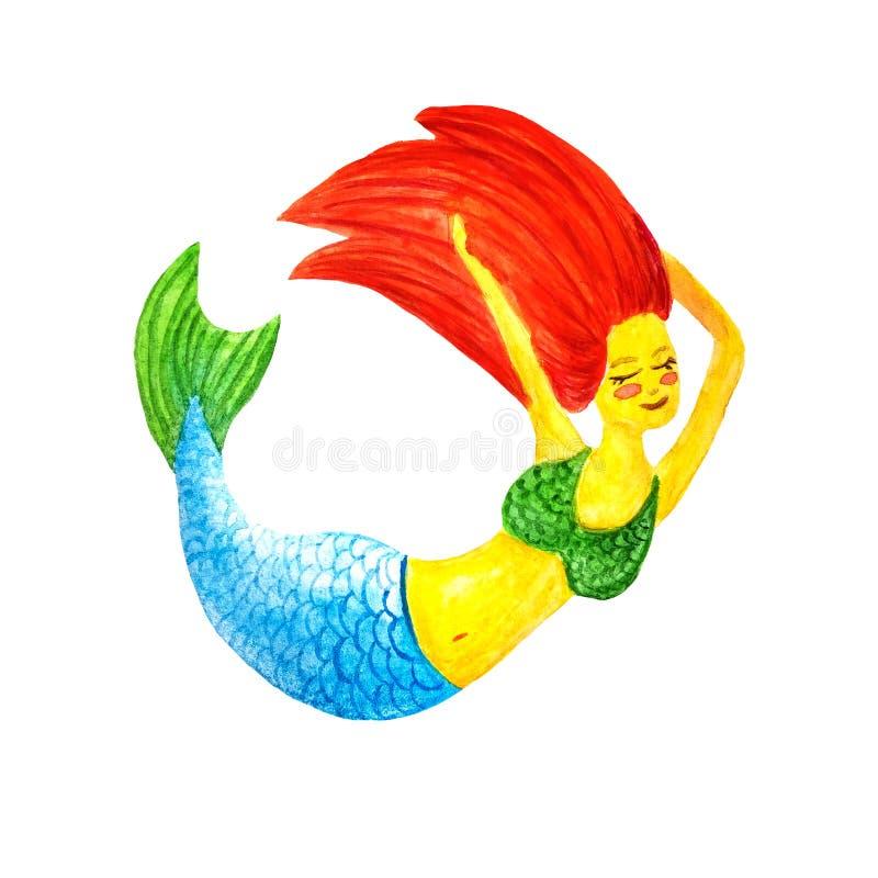Aquarellmeerjungfrau mit dem roten Haar, grünem Endstück und grünem Badeanzugschwimmen herum, lächelt, erhält Vergnügen auf weiße stock abbildung