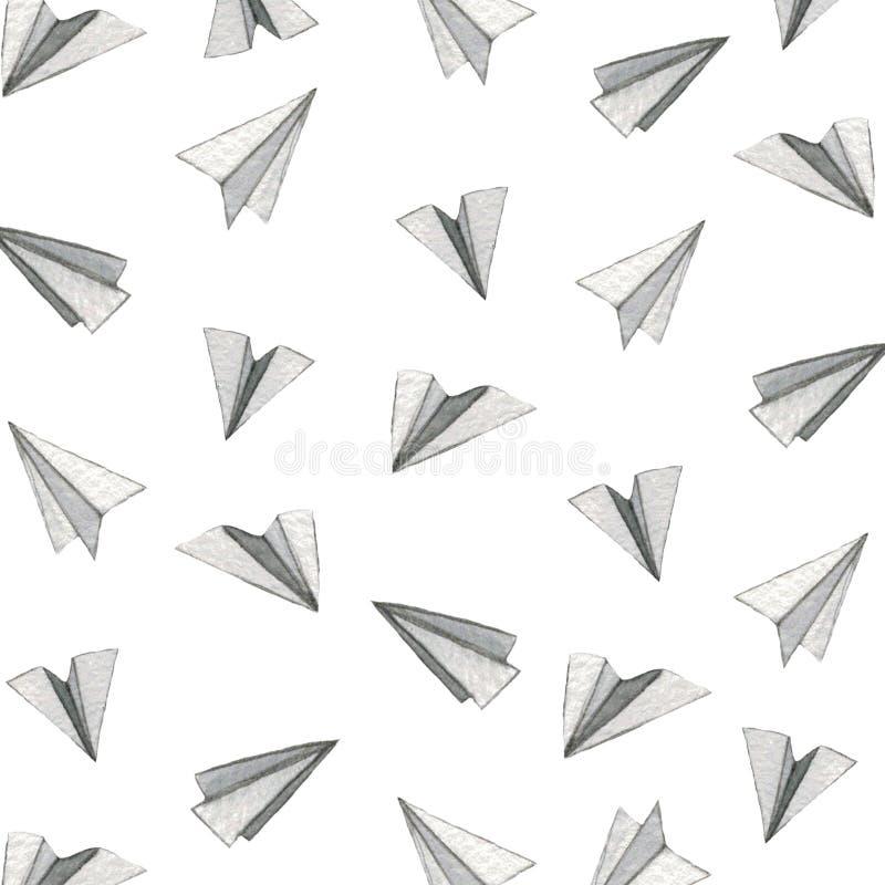 Aquarellminiaturflugzeuge stockfoto