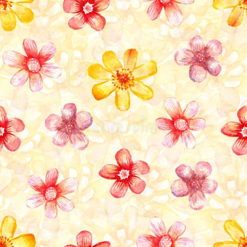 Aquarellmit Blumennahtloses vektor abbildung