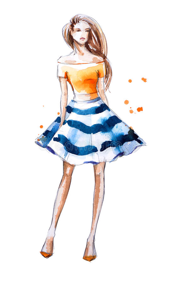 Aquarellmodeillustration, handgemalt lizenzfreie abbildung