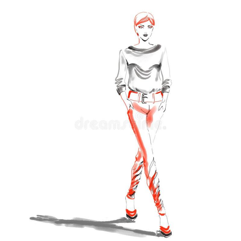 Aquarellmodeillustration mit schönem Mädchen lizenzfreie abbildung