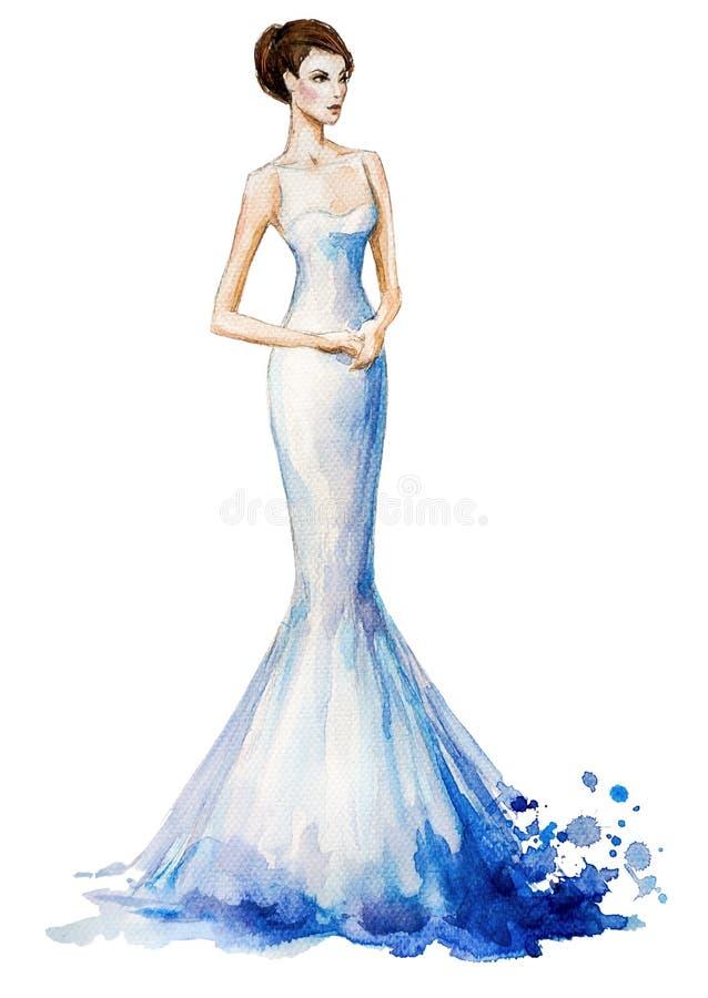 Aquarellmodeillustration, schönes junges Mädchen in einem langen Kleid Ein Fragment der Hochzeitsordnung lizenzfreie abbildung