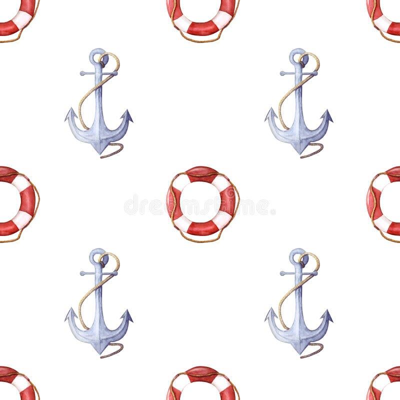 Aquarellmuster des Rettungsrings und des Ankers Rettungsring mit Seil und Anker mit nahtlosem Muster des Seils lizenzfreie abbildung