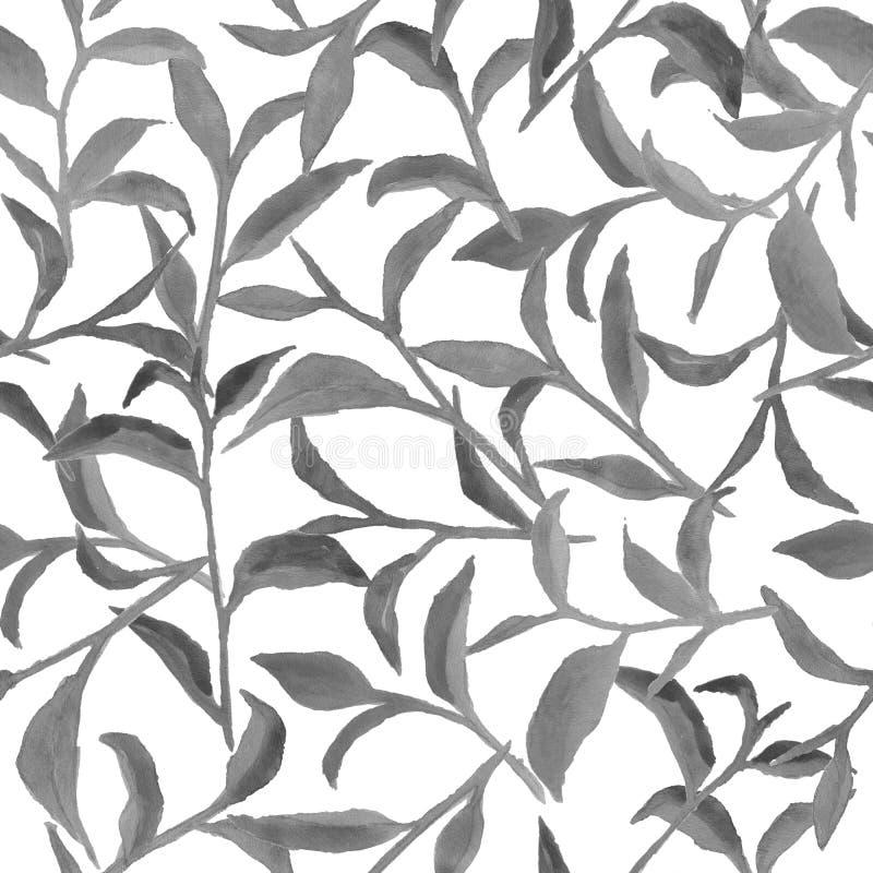 Aquarellmuster mit grauen Blättern stockfotos