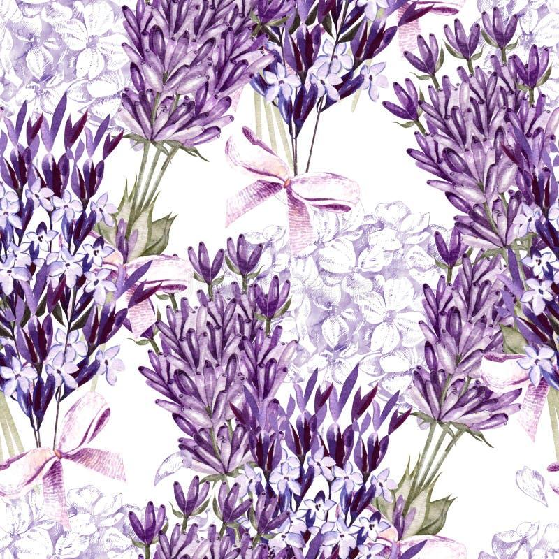 Aquarellmuster mit Lavendel Fokus auf Vordergrund watercolor vektor abbildung