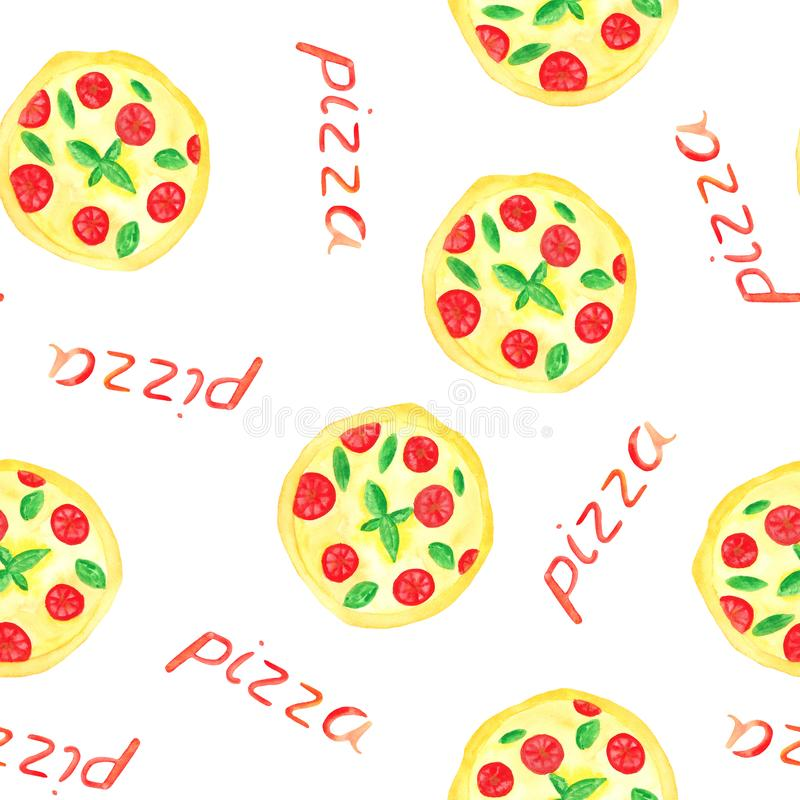 Aquarellmuster mit Pizza, Pizzascheiben, Pizzaaufschrift vektor abbildung