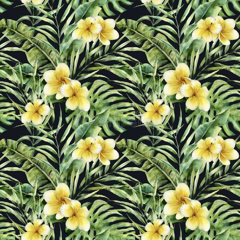 Aquarellmuster mit Plumeria und Palme verlässt Handgemaltes exotisches Grün verzweigen sich Botanische Illustration für stock abbildung