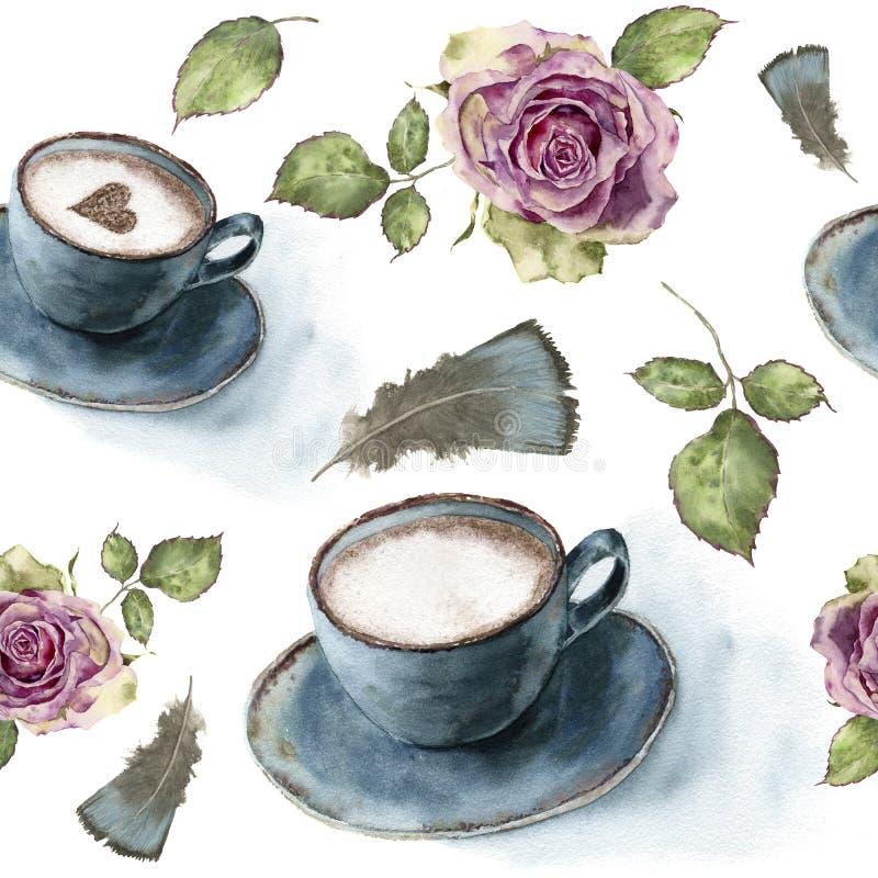 Aquarellmuster mit Retro- Rosen, Tasse Kaffee und Federn Handgemalte Weinleseverzierung lokalisiert auf Weiß lizenzfreie abbildung