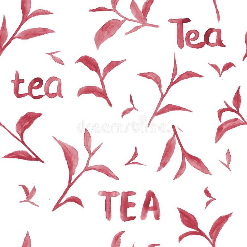 Aquarellmuster mit roten Teeblättern stockfotos