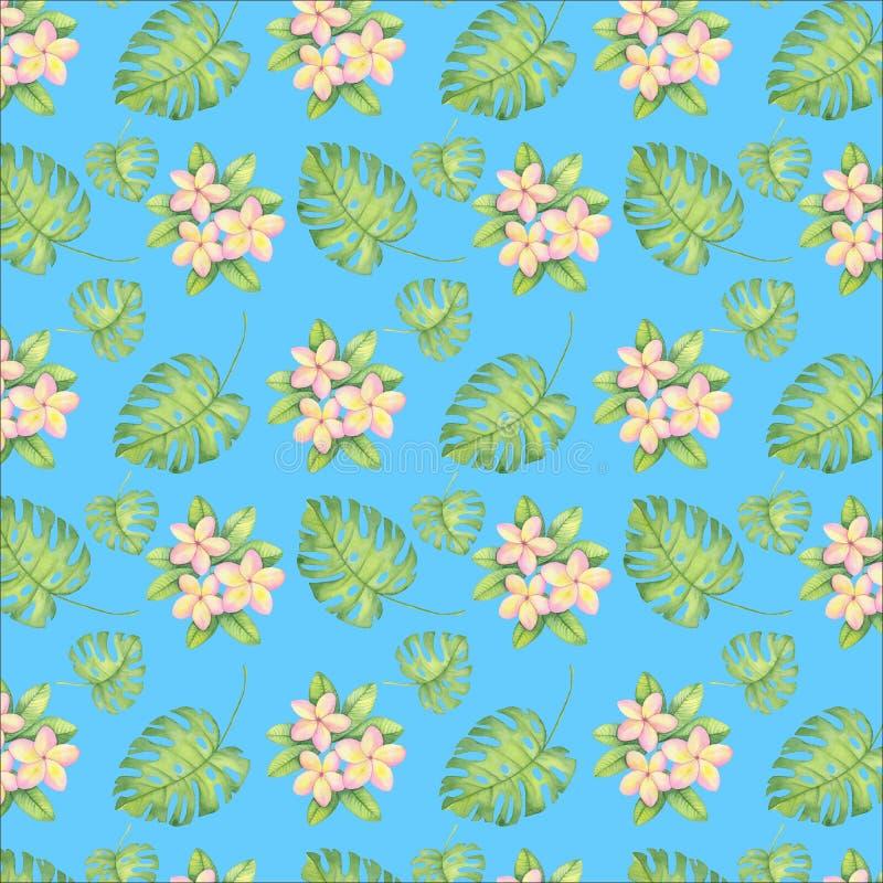 Aquarellmusterillustration, tropische Blumen, rosa und gelber Plumeria, verlässt stock abbildung