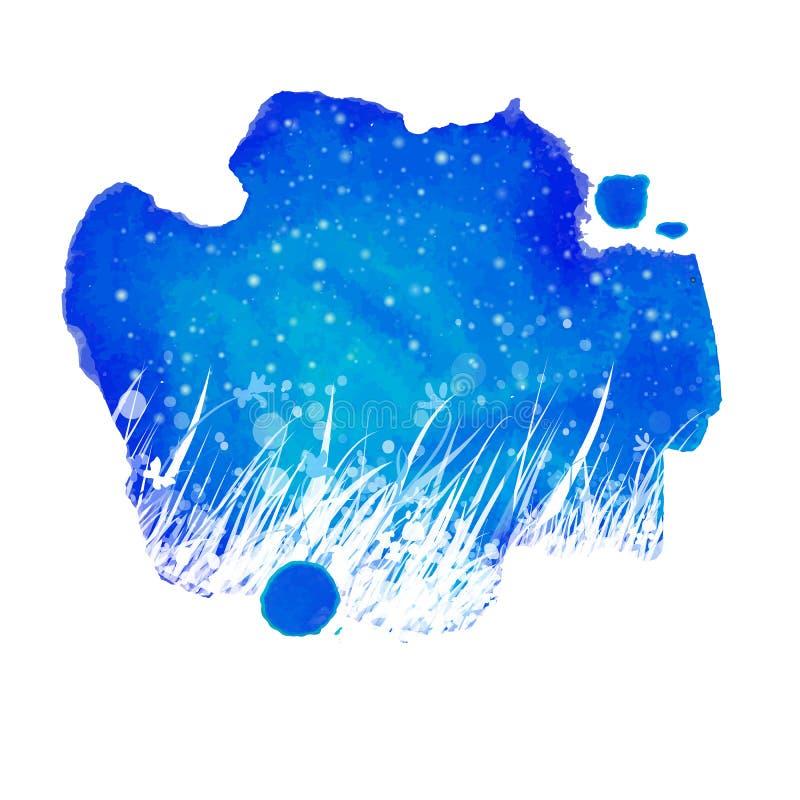 Aquarellnachtblaues Spritzen mit Handzeichnungs-Gartengras lizenzfreie abbildung