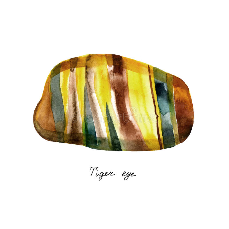 Aquarellnatürlicher Mineraledelsteinstein - Tiger ` s Auge - Tigeraugenedelstein lokalisiert auf weißem Hintergrund stock abbildung