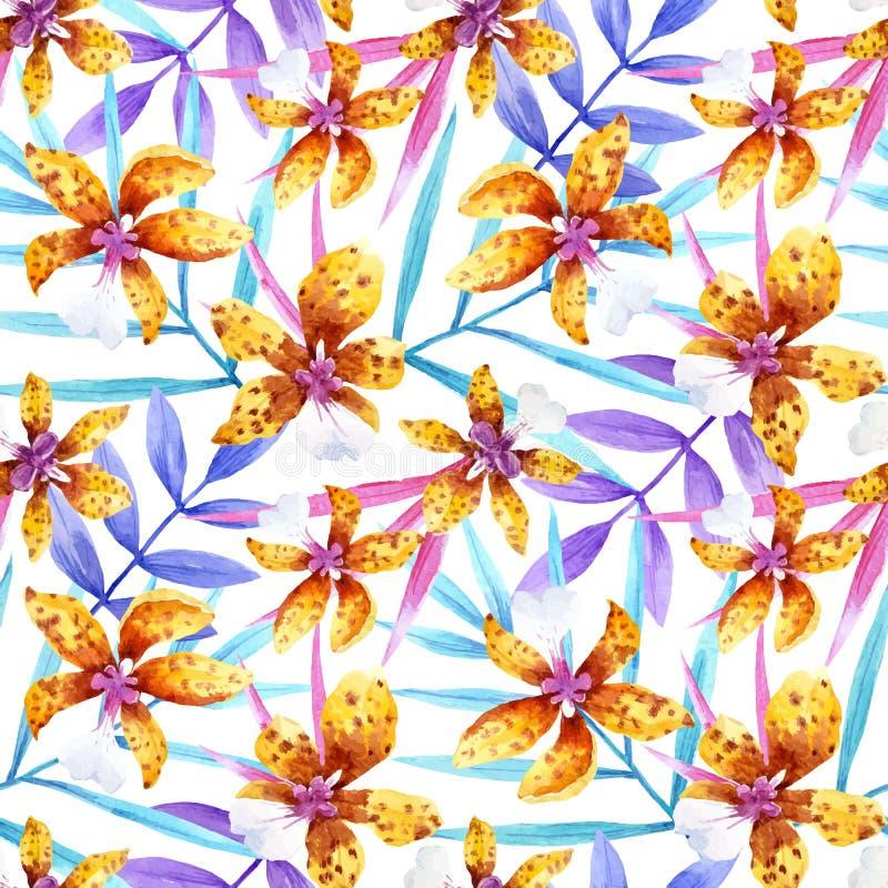 Aquarellorchidee blüht tropisches Vektormuster stock abbildung