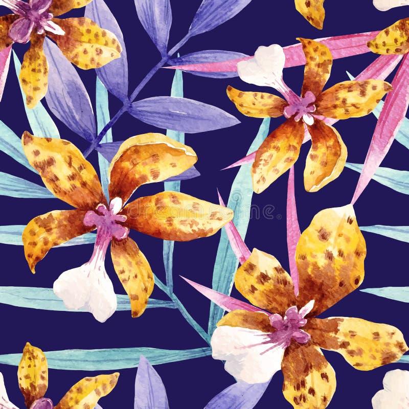 Aquarellorchidee blüht tropisches Vektormuster vektor abbildung