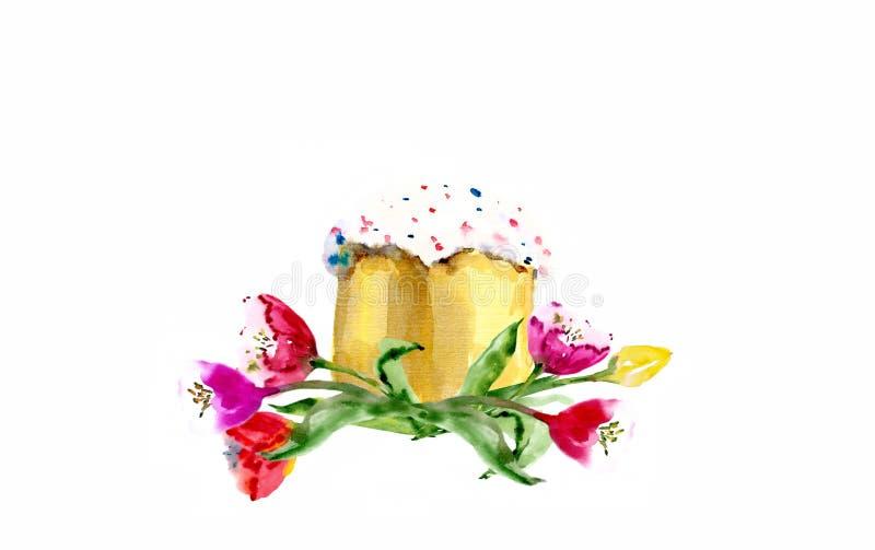 Aquarellostern-kulich Kuchen mit der Tulpe lokalisiert auf weißem Hintergrund lizenzfreie abbildung