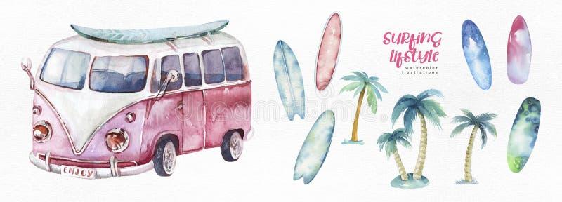 Aquarellozeanbrandung Strand, Abenteuer, Fahrrad und motorollier, Spa?feiertagst?tigkeit, tropische Reiseillustration insel lizenzfreie abbildung