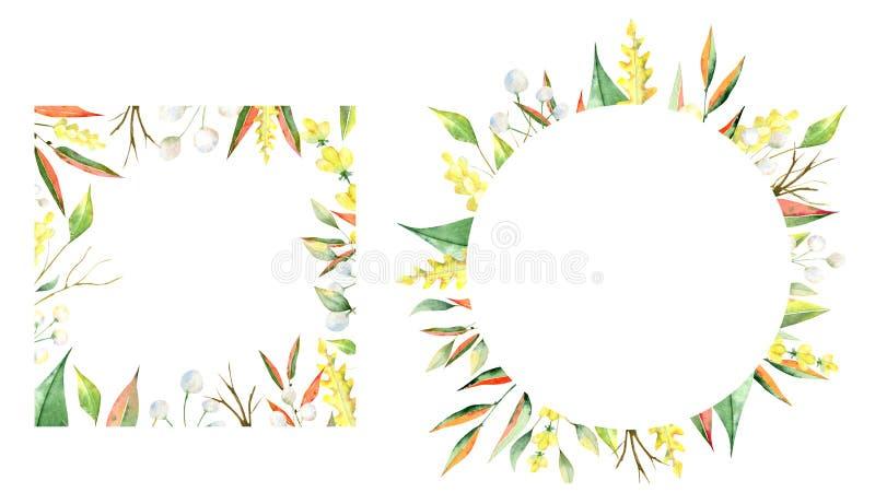 Aquarellrahmen des Herbstes Blätter, branchs und Blumen lizenzfreie abbildung