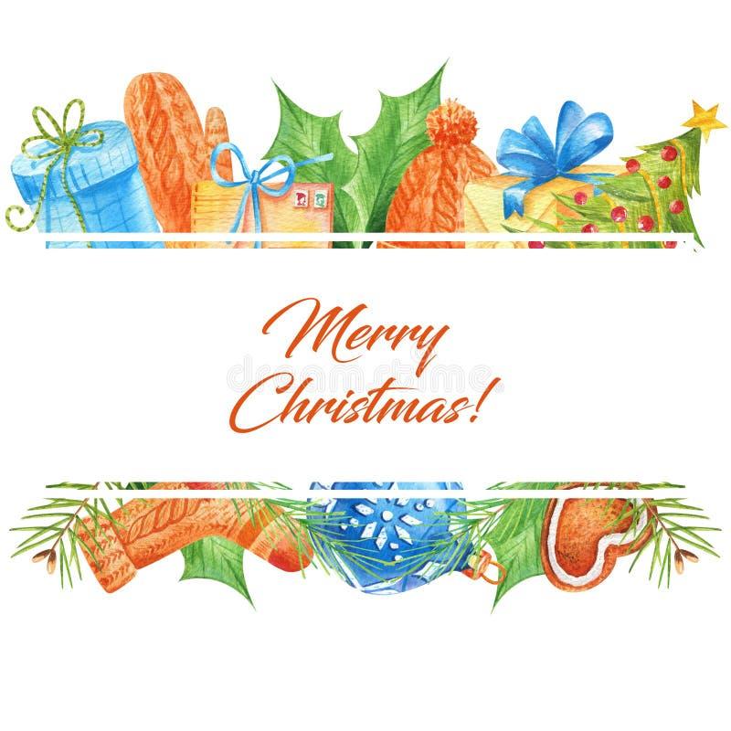 Aquarellrahmen lokalisiert auf einem weißen Hintergrund mit Winter- und Weihnachtsattributen vektor abbildung