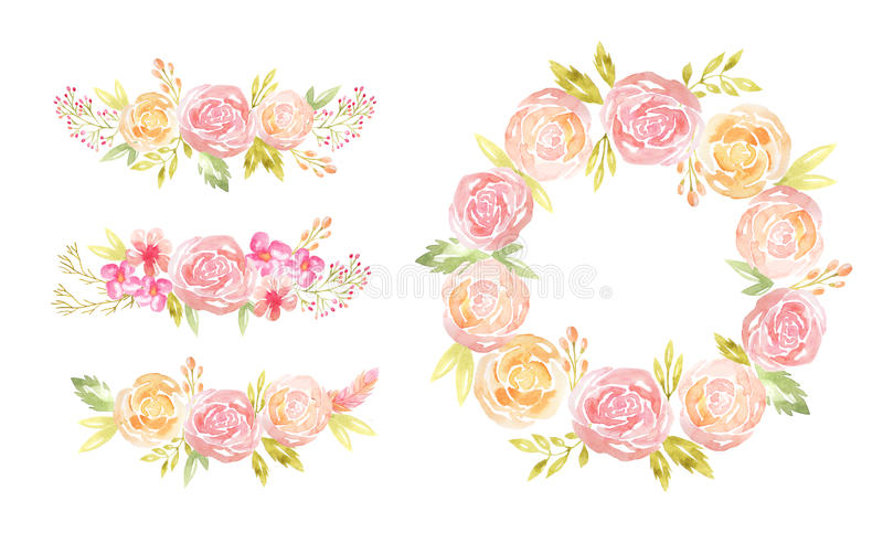Aquarellrahmen mit Blumen und Blättern vektor abbildung