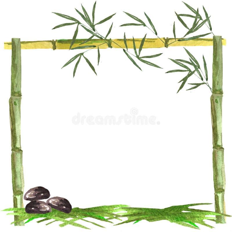 Aquarellrahmen von Bambus- und Bambusblättern mit Steinen und von Gras auf einem weißen Hintergrund stock abbildung