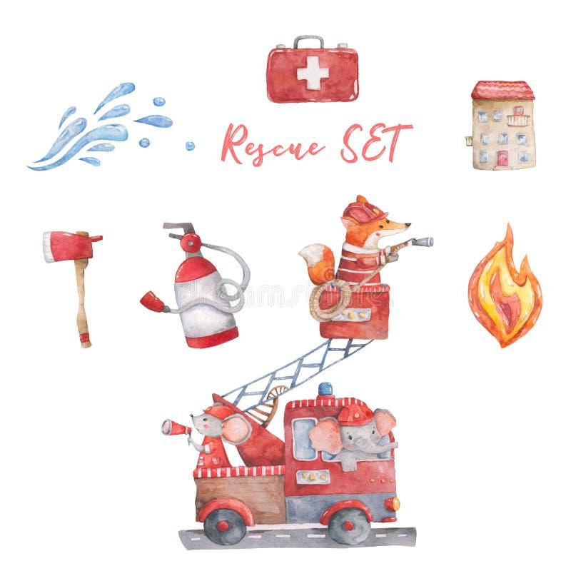 Aquarellrettungsausrüstung Wenige Helden die lustige Karikatur der Feuerrettung, Handgezogene bunte Illustration auf weißem Hinte lizenzfreie stockbilder