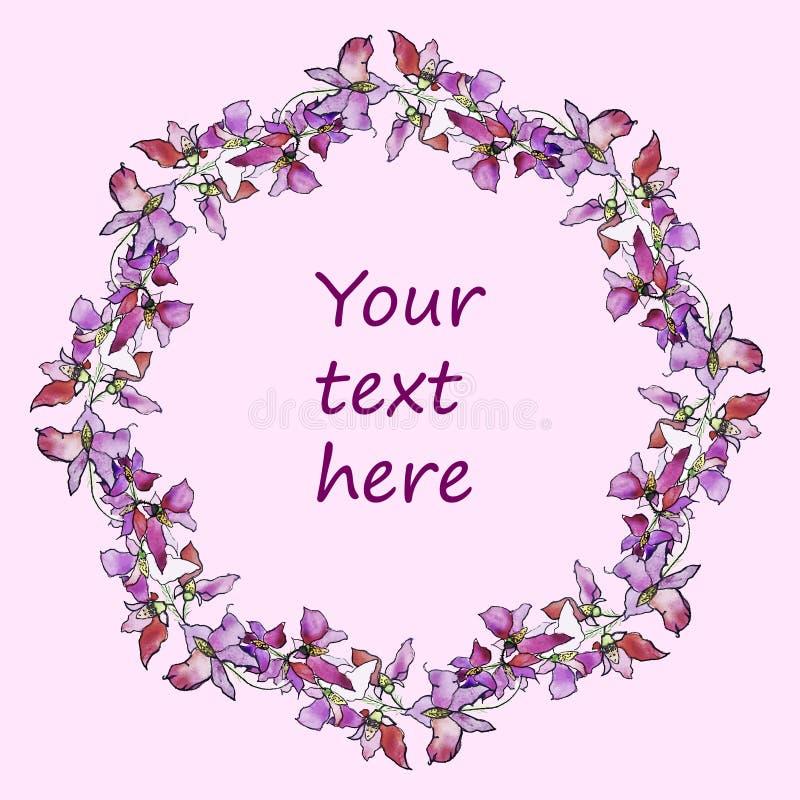 Aquarellrosa Blumenkranz, Hand gezeichneter Blumenflammenclipart lizenzfreie stockfotografie