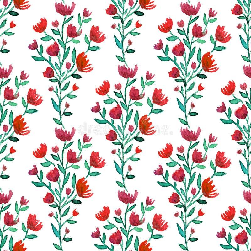 Aquarellrot blüht nahtloses Muster Art und Weisehintergrund Kann für die Verpackung, Gewebe, Tapete und Paket verwendet werden stock abbildung