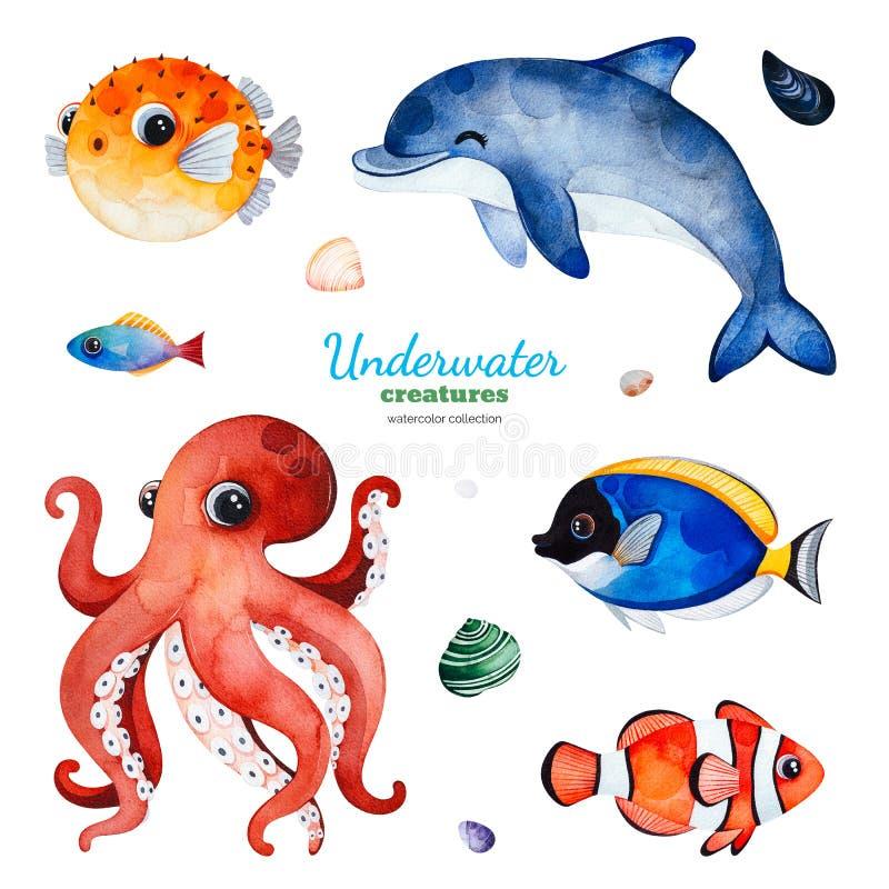 Aquarellsammlung mit mehrfarbigen korallenroten Fischen Oberteile, Delphin, Krake vektor abbildung