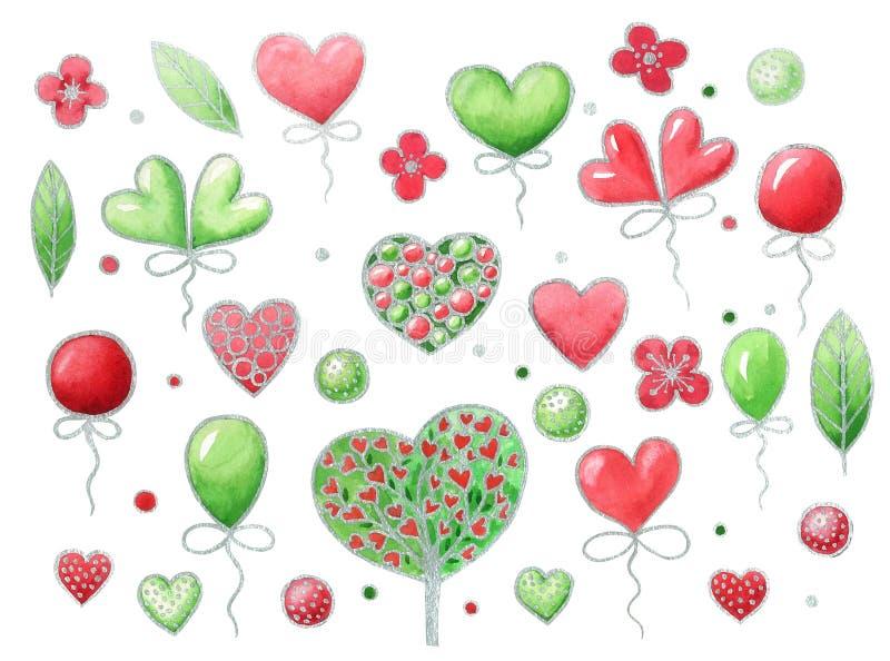 Aquarellsatz Elemente für Valentinsgruß ` s Tag Getrennt auf weißem Hintergrund vektor abbildung