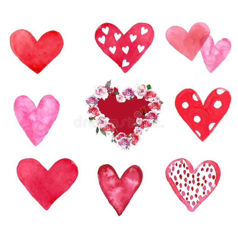 Aquarellsatz handgemalte rote und rosa Herzen, lokalisiert auf weißem Hintergrund lizenzfreie abbildung