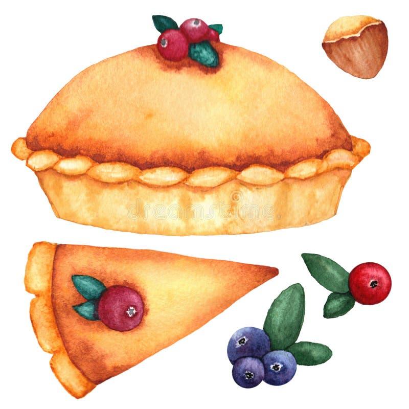 Aquarellsatz traditionelle Festlichkeiten für Danksagung: Kürbiskuchen, Moosbeeren, Nüsse lizenzfreie abbildung