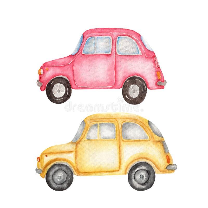 Aquarellsatzillustration des gelben Autos und des roten Autos auf weißem Hintergrund Hand gezeichnet stock abbildung