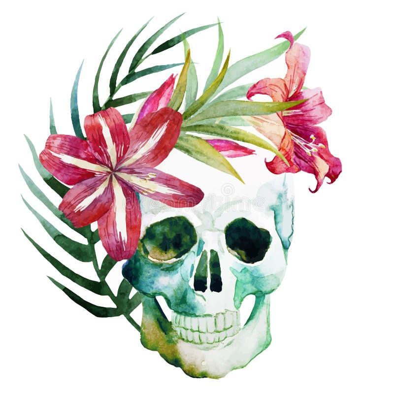 Aquarellschädel mit Blumen lizenzfreie abbildung