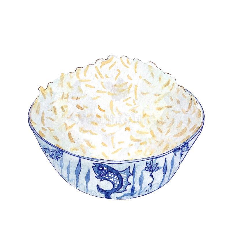Aquarellschüssel Reis lokalisiert auf weißem Hintergrund lizenzfreie stockfotos