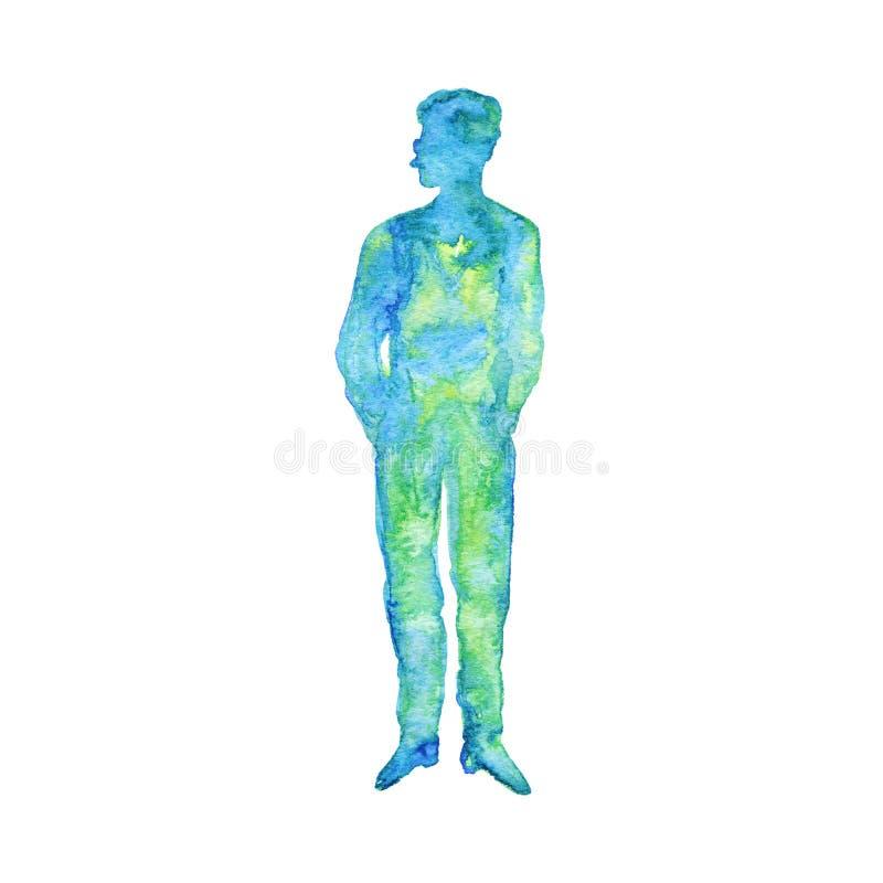 Aquarellschattenbild des Mannes lizenzfreie stockbilder