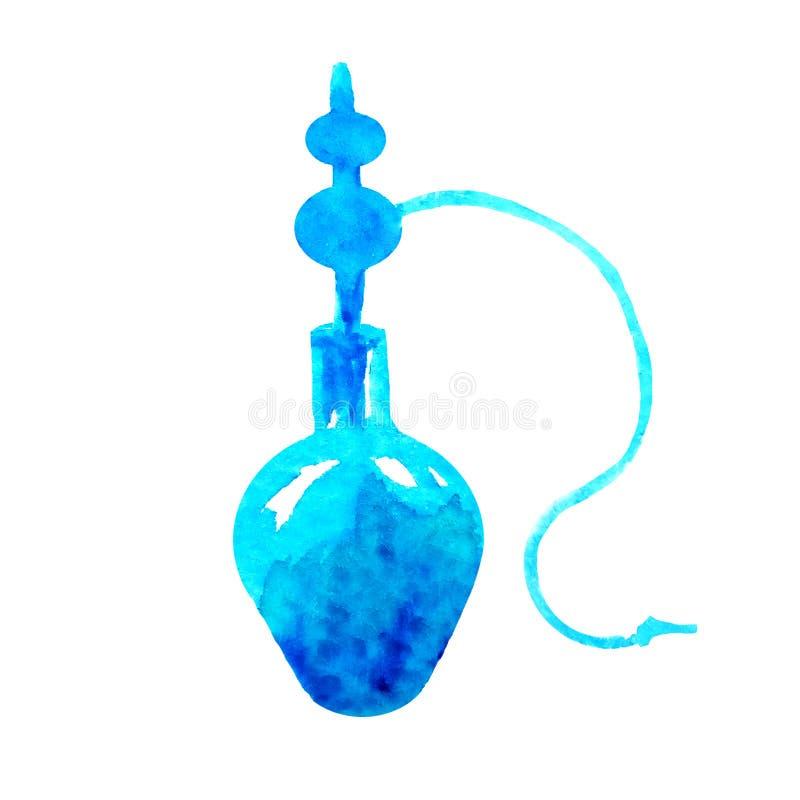 Aquarellschattenbild einer blauen Huka auf einem weißen Hintergrund vektor abbildung