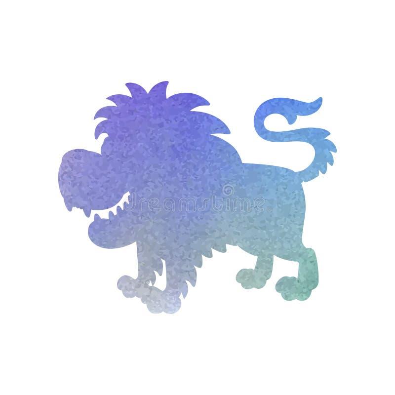 Aquarellschattenbild eines Löwes auf einem lokalisierten Hintergrund Vektor stock abbildung