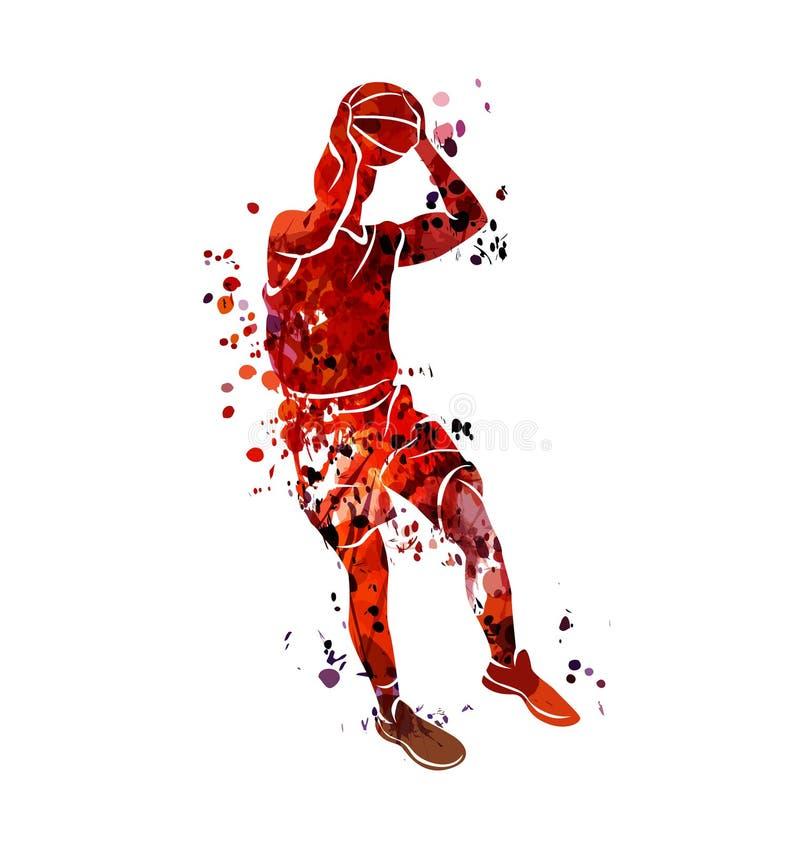 Aquarellschattenbildbasketball-spieler vektor abbildung