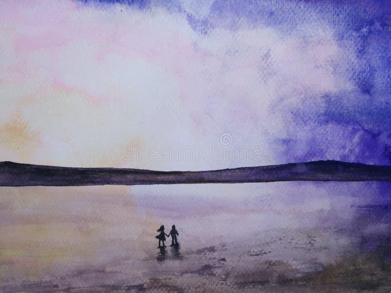 Aquarellschattenbildlandschaftsromantische Seesonnenuntergangpaare im Liebeshändchenhalten, das den Himmel schaut vektor abbildung