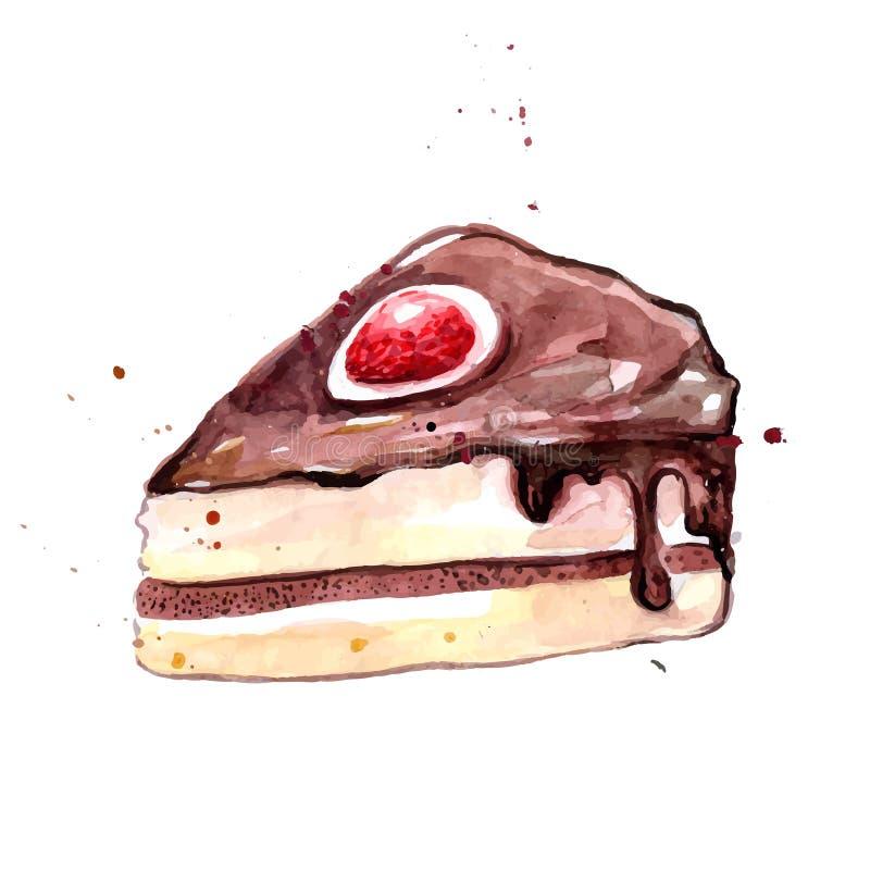 Aquarellscheibe des Schokoladenkuchens mit Zuckerglasur und Erdbeere lizenzfreie abbildung