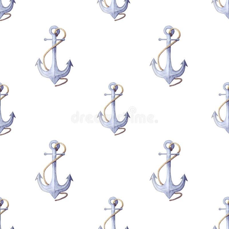 Aquarellseemuster nahtloses Muster des blauen Ankers mit Seil vektor abbildung