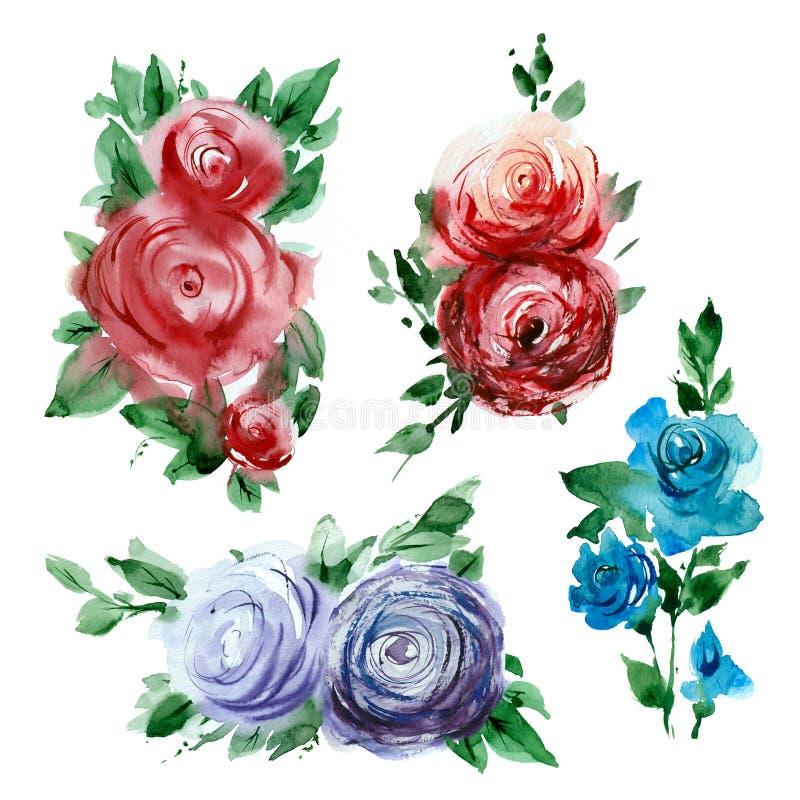 Aquarellskizzen von Blumen lizenzfreie abbildung