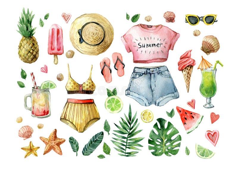 Aquarellsommer eingestellt mit Palmblättern, exotischen Früchten, Eiscreme, kalten Getränken, Wassermelone und Sommerkleidung Han lizenzfreie abbildung