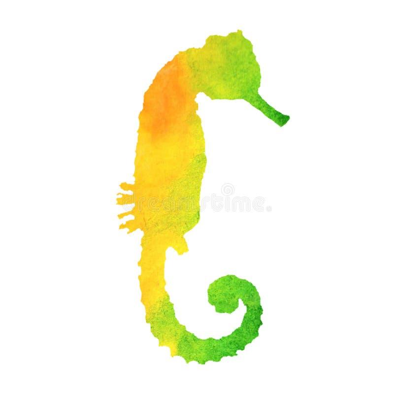 Aquarellsommer-Seeillustration Handgemaltes Regenbogenseepferdchen stock abbildung
