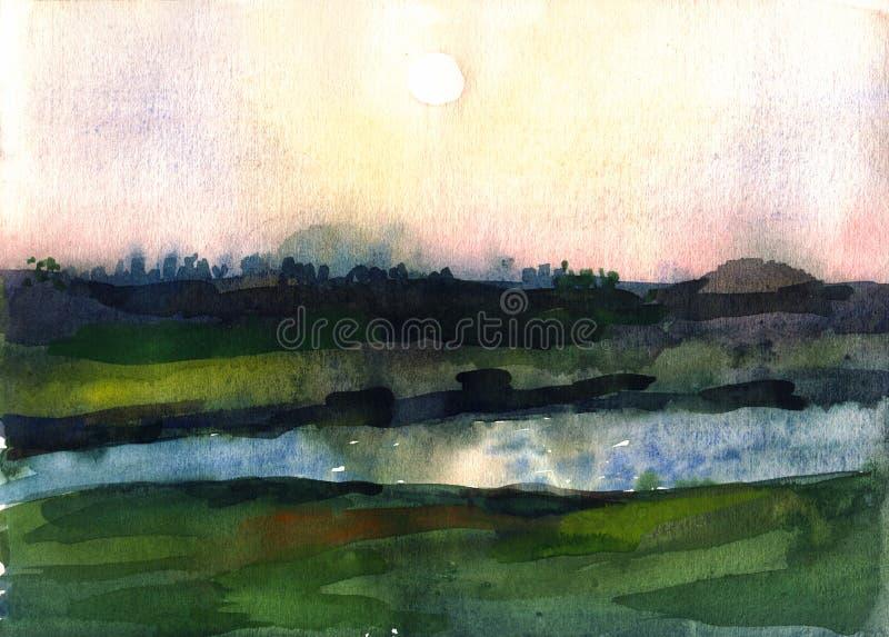 Aquarellsonnenaufgang über dem Fluss lizenzfreie abbildung