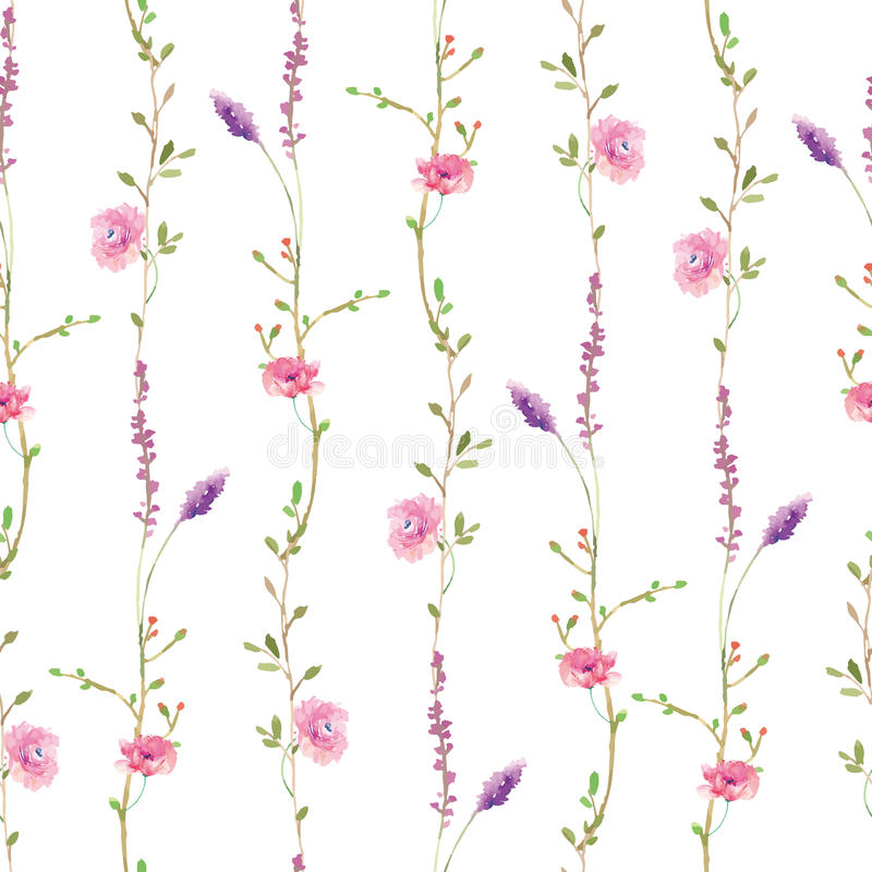 Aquarellsonnenblumen-Kolibrihintergrund lizenzfreie abbildung
